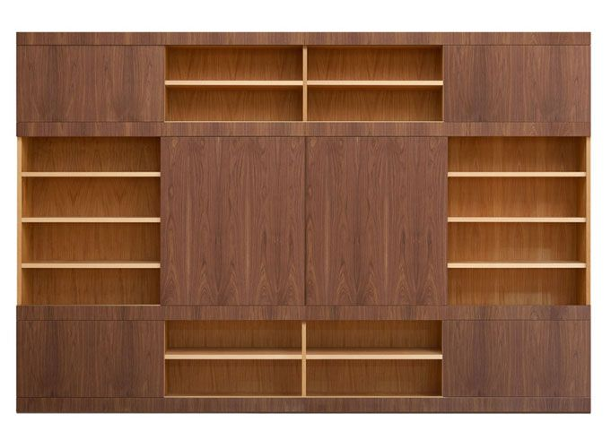 Mask bookcase. Open structure made of cherry wood with adjustable shelves, Sliding doors made of canaletto walnut