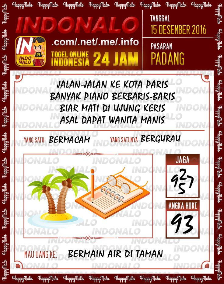 Tafsir Lotre 2D Togel Wap Online Live Draw 4D Indonalo Padang 15 Desember 2016