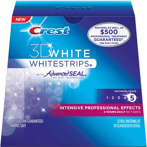 3D White Intensive Professional Effects  Whitestrips, the secret is in the strip. It transforms your smile, producing professional-level results in just 7 days.  BOUGHT THESE-HOPEFULLY they work!!!