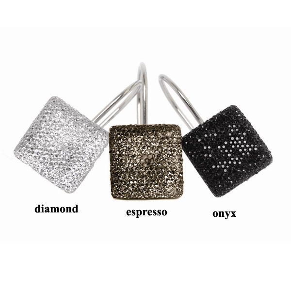 Decorative Shower Hooks   Crystal Shower Curtain Hooks By Famous Home  Fashions