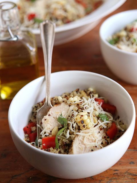 Chicken Quinoa Bowls with Grilled Corn, Red Peppers and Pine Nuts from completelydelicious.com by Completely Delicious, via Flickr