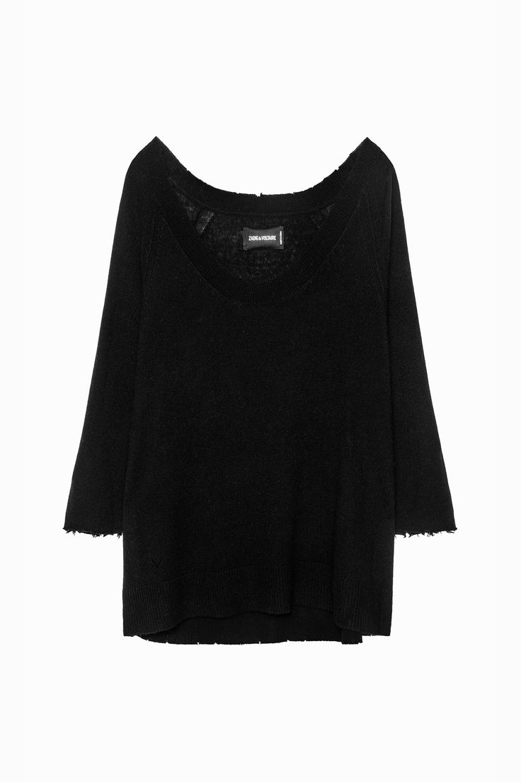 Zadig & Voltaire V-neck sweater, raw-edged 2/3 sleeves, 100% cashmere, a soft, luxurious material that can be used to create items that are silky, lightweight and very warm. This model can be worn bare-armed or on top of a blouse.