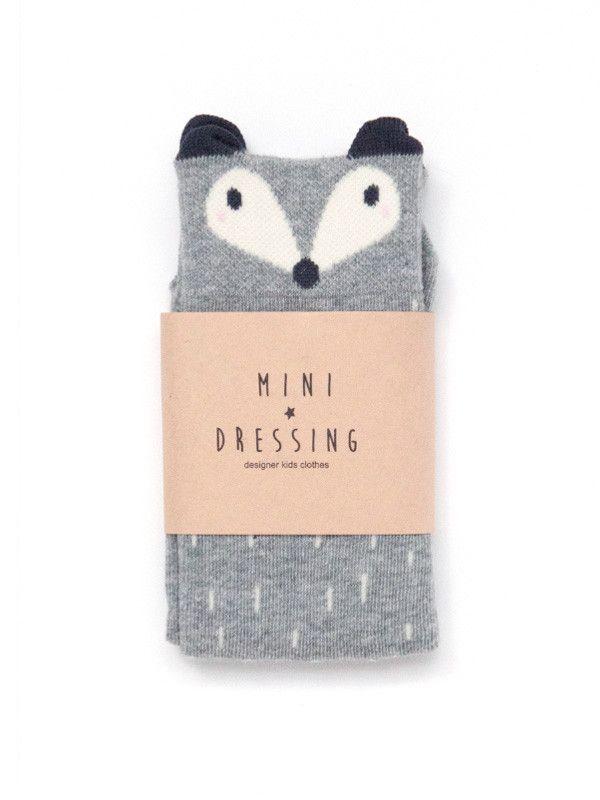 Raccoon Knee Socks - Gray