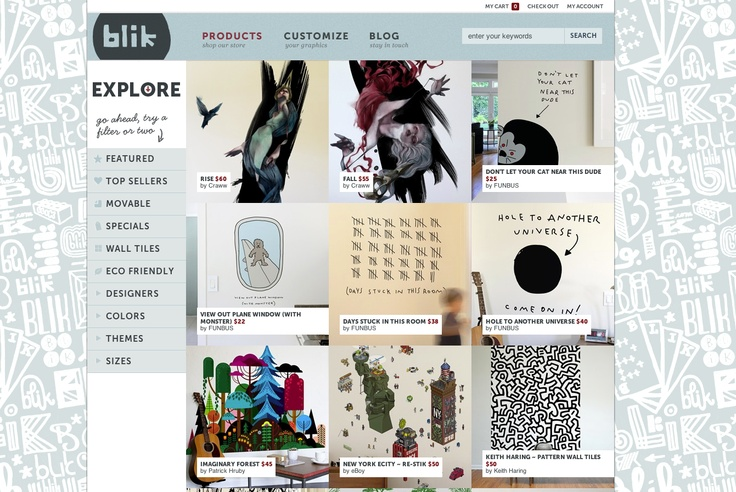 http://www.whatisblik.com/ an Online Shop - eCommerce site with lovely look and feel and a very nice and tidy usabilty and UX