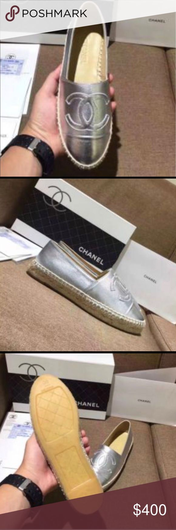 Metallics Chanel espadrilles🎀🎀💙 💙TAKING OFFERS! Arriving in 2 weeks 🌈🎀 give me your size and o can order gold ones as well🌕 price reflects authenticity ☀️ CHANEL Shoes Espadrilles
