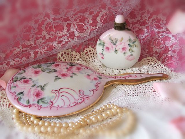 Cottage Romantic Shabby Vintage Chic Porcelain Vanity Items with Pink Roses | Flickr - Photo Sharing!