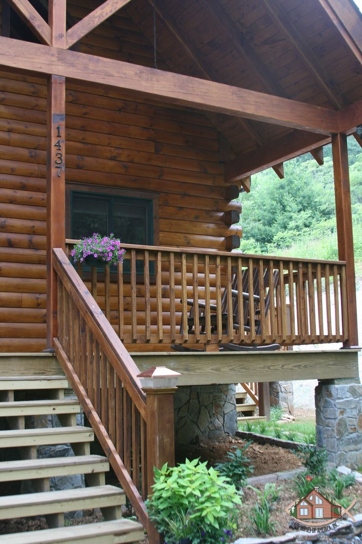 19 best porches decks images on pinterest terrace for Log home decks