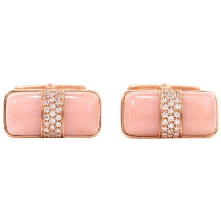 Estate Italian Pink Opal and Diamond Rose Gold Cufflinks