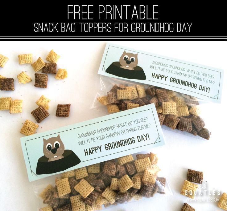 Squatles: Free Printable Groundhog Day Snack Bag Topper