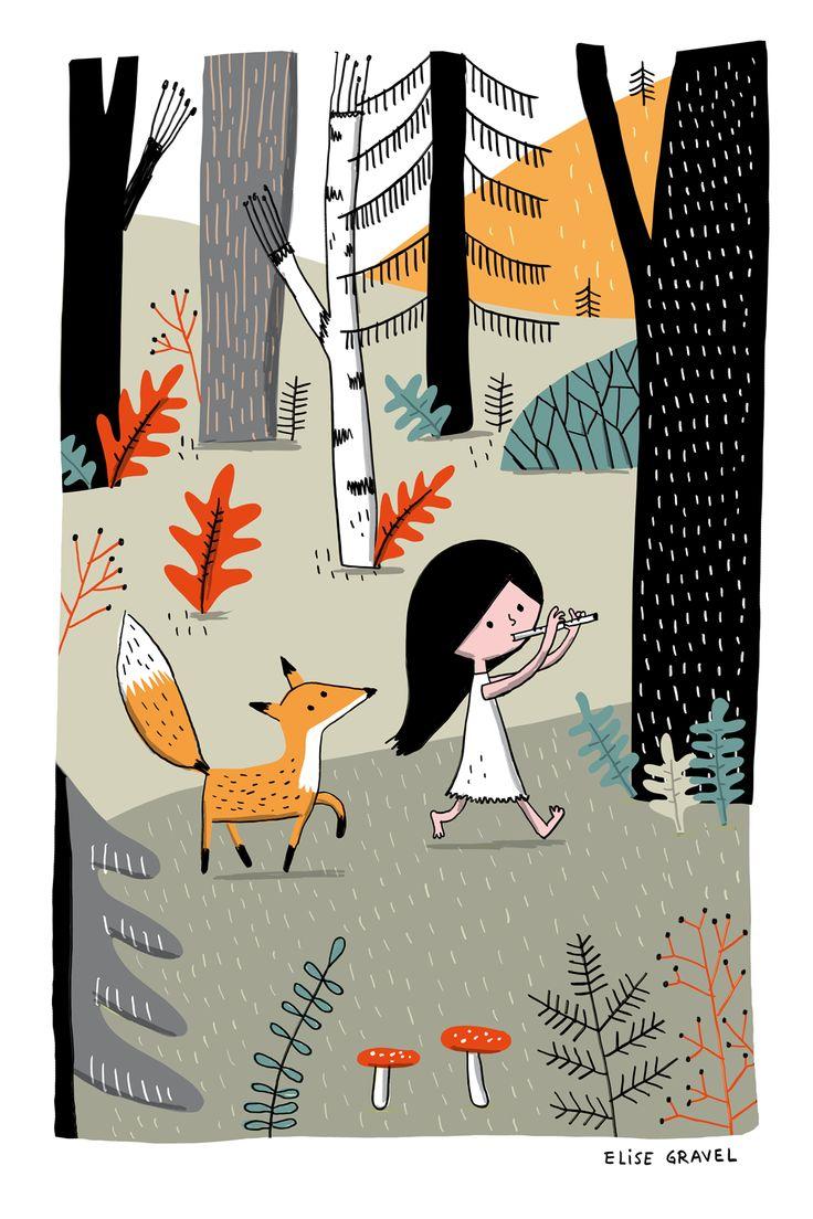 Elise Gravel illustration • forest • fox • girl • music • nature • cute