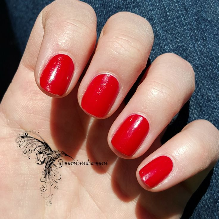 """Comparison: OPI Big Apple Red vs. Zoya Carmen (Mami Needs A Mani!) (""""Two coats each, outdoors, no top coat."""") [OPI's Big Apple Red on index and ring fingers; Zoya's Carmen on middle and pinkie fingers]"""
