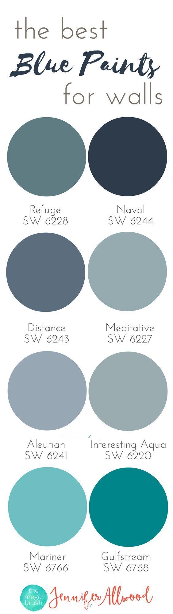 the best Blue Paints for walls | Magic Brush | Jennifer Allwood's Top 50 Wall Paint Colors | Paint Color Ideas | Best Blue Hues | Interior Paint Colors | Paint Colors for Living Rooms | Paint Colors for Boys Rooms