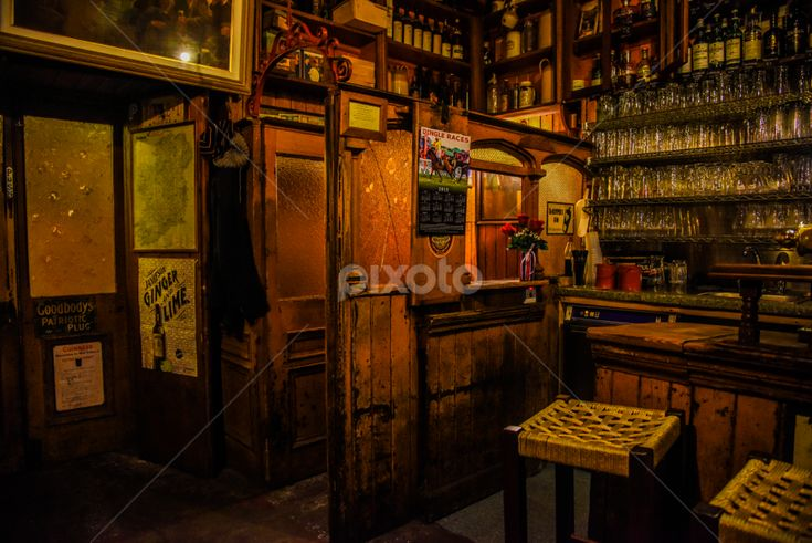 Old Irish Pub by Johnny Griffin - Johnny Griffin Photography - Food & Drink Alcohol & Drinks ( old, ireland, dingle, guinness, glasses, olden times, counter, visitors, stool, door, irish, pints, pub, history, beer, drink, shots, bottles, bar,  )