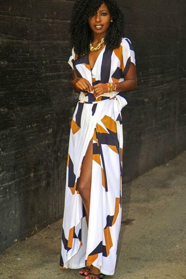 Deep V-neck Print Bohemian Irregular Split Long Dress