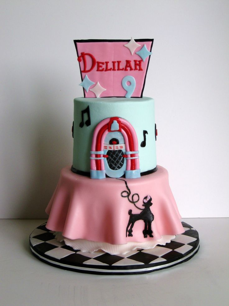 1950 S Themed Cake With A Poodle Skirt 50 Style Pinterest