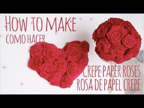 Como hacer rosas de papel crepe / How to make crepe paper roses - YouTube