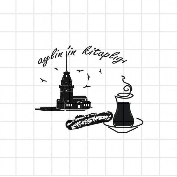 Kız Kulesi temalı kitap mührü. Kız kulesini, çayı ve simiti sevenlere.