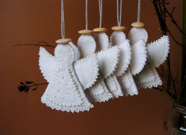 Christmas felt angel decoration White angel ornament White angel Christmas decoration. $10.00, via Etsy.