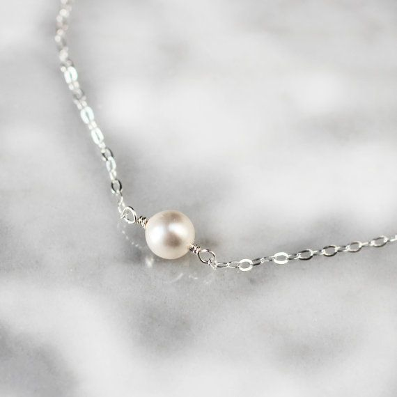 Sterling Silver PEARL SOLITAIRE Necklace with layering necklace chain deluxur.com.au