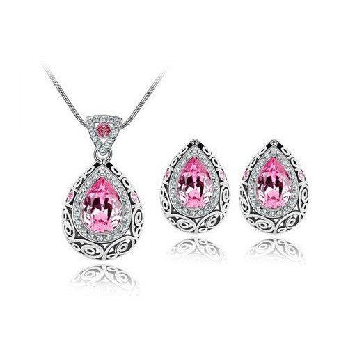 Vintage Style Pink Topaz Genuine Australian Crystal Necklace & Earring – UCHARMME.co.nz