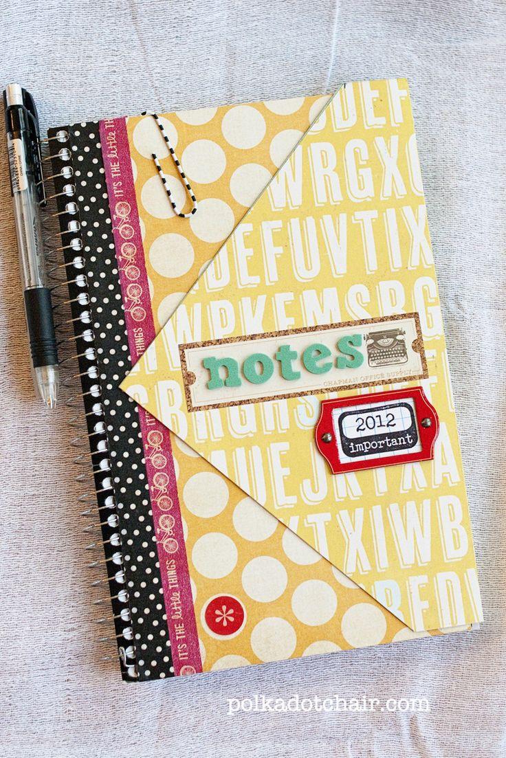 "Plain spiral notebook ""redo"" using scrapbooking supplies - Xyron makes it easy!"