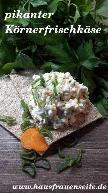 pikanter Körnerfrischkäse mit Karotte - Rezept  Dieser pikante Körnerfrischkäse wird mit Karotten und Frühlingszwiebeln gemacht und ist lecker als Dipp, Brotaufstrich oder Füllung vegetarisch glutenfrei