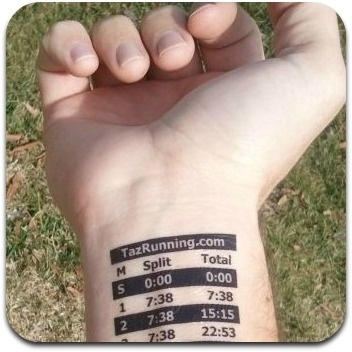 Custom pacing tattoo.  This company will create a pace chart that is specific to your race including pacing for inclines and declines.  I emailed them about a race I was interested in, and they had the race added to their website in less than 24 hours.  Wow. running