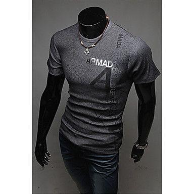 Lettre de Imprimer col rond T-shirt des hommes – EUR € 16.74