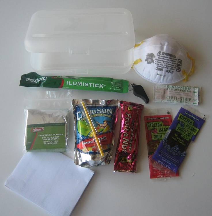 emergency preparedness kit for M's locker at school.....pencil case (to hold everything), emergency blanket, drink pouch, protein bars, fruit leathers, bandaids, light/glow stick, mask, list of emergency contacts, letter with calming message and family emergency plan.....if there's room, include 3 days worth of GF food