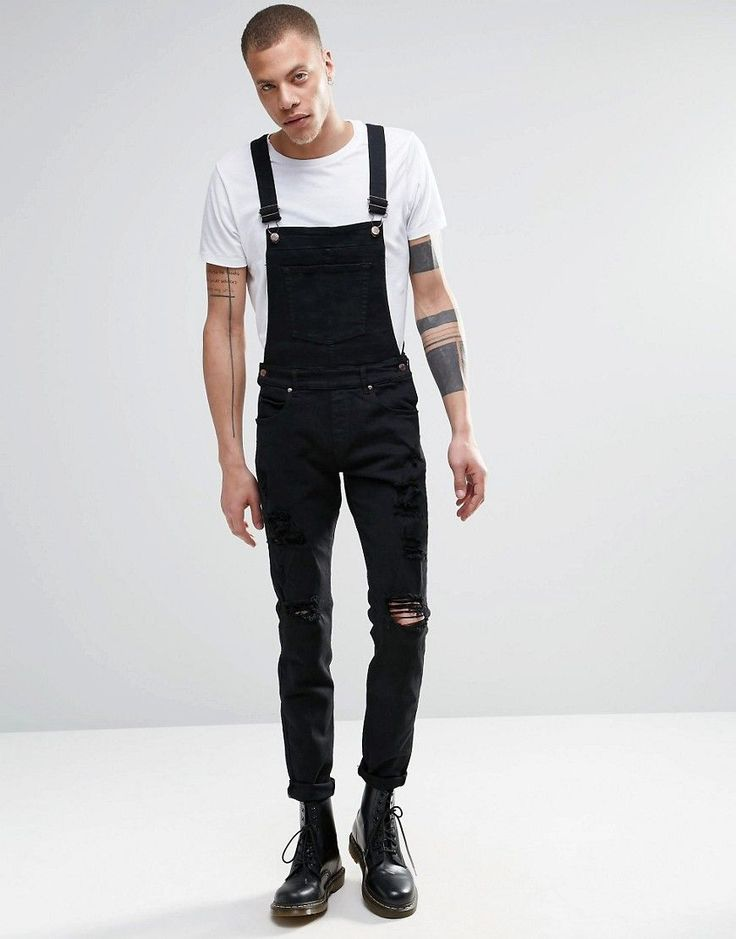 Image 1 of Dr Denim Ira Skinny Ripped Overall Jeans in Black