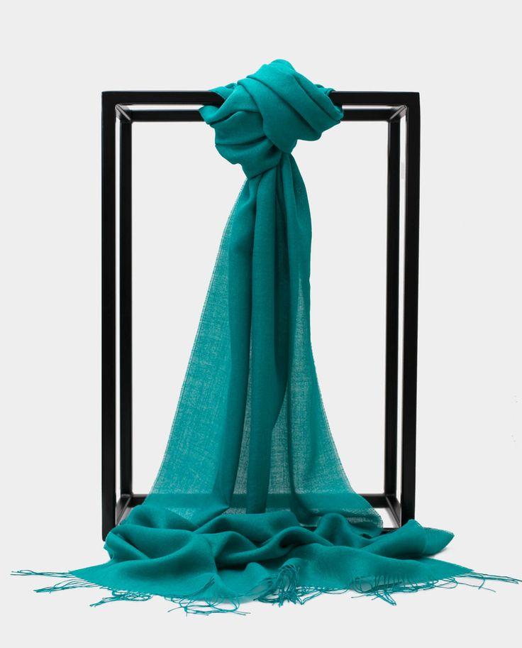 Szal Alpaka Jedbaw Exclusive Inti Turkusowy Shawl Scarf Turquoise 70% BABY ALPACA + 30% SILK Made in Peru