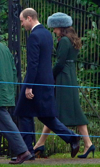 Kate Middleton kept warm wearing a Sumac luxury alpaca fur hat and forest green Sportsmax coat for Sunday service at St. Mary Magdalene Church the day before her 35th birthday.