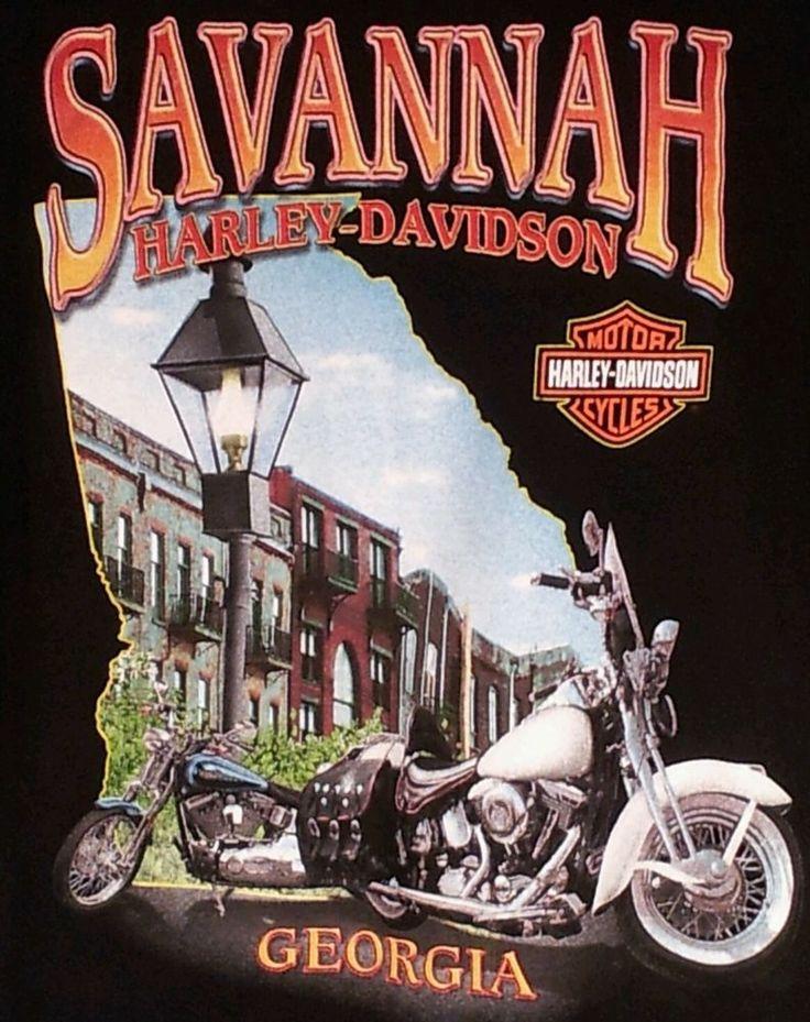 Harley-Davidson Savannah GA T Shirt Sz XL Georgia Eagle Motorcycles Lamp Posts #HarleyDavidsonMotorcycles #SavannahGeorgia $24.99