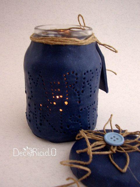 decoriciclo: lanterna fatta con un barattolo di vetro di recupero rivestito di pasta modellabile