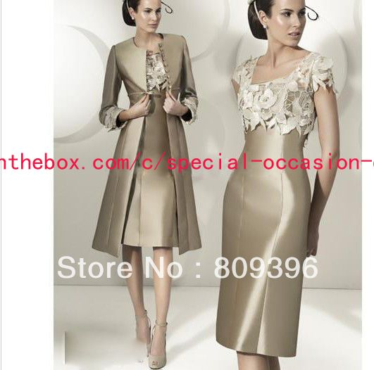 Hot Sale New Arrival Scoop Satin Appliqued Knee Length Lace With Long Sleeves Jacket Mother of the Bride Dresses-in Mother of the Bride Dres...