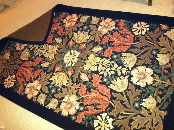Needlepoint rug. I began in December 2000 and completed February 2014. William Morris design, Beth Russell needlepoint rug kit - Compton Rug.