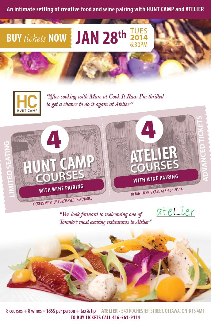 FARMHOUSEtavern is proud to announce #HUNTCAMPvisitsOTTAWA Tuesday, Jan 28th at Atelier