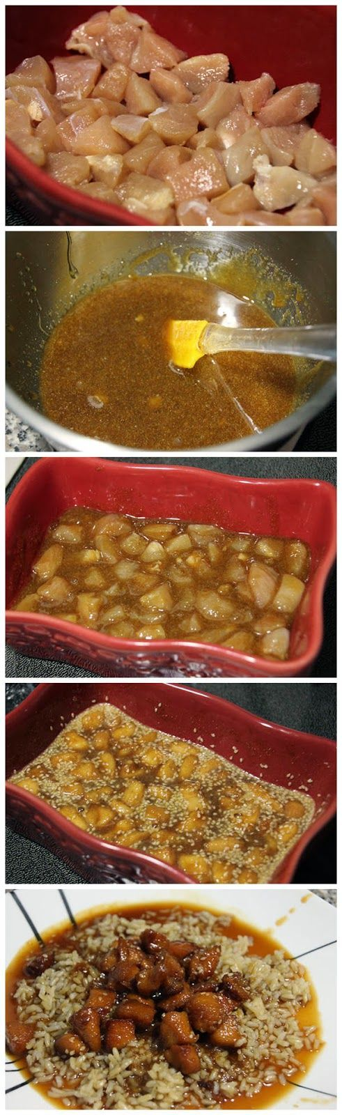 Quick and Easy Recipe : Sesame Chicken Ingredients 4 chicken tenderloins. cut into small pieces 1/2 cup honey 1/4 cup brown sugar 2 tbsp soy sauce 1 tbsp garlic powder sesame seeds. to taste 1 package of brown rice