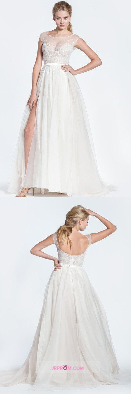 Sexy Prom/Wedding Dresses With High Slit A-Line Scoop Ivory Sweep/Brush Train Chiffon With Embroidery & Beading Item Code:#JRPGG1MHTL