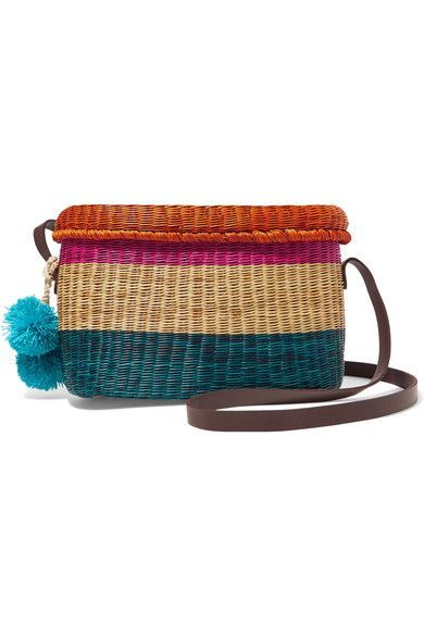 Multicolored raffia, brown leather Top flap Due to the unique nature of the design, these pieces may differ from that pictured Weighs approximately 0.7lbs/ 0.3kg