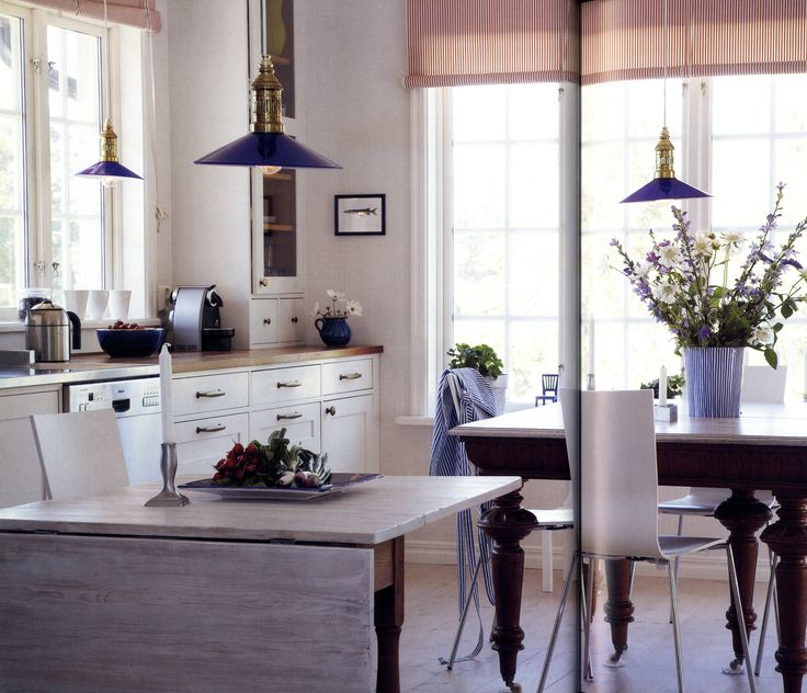 adding color to a white kitchen cobalt blue in the glass lampshades and the ceramics 9003