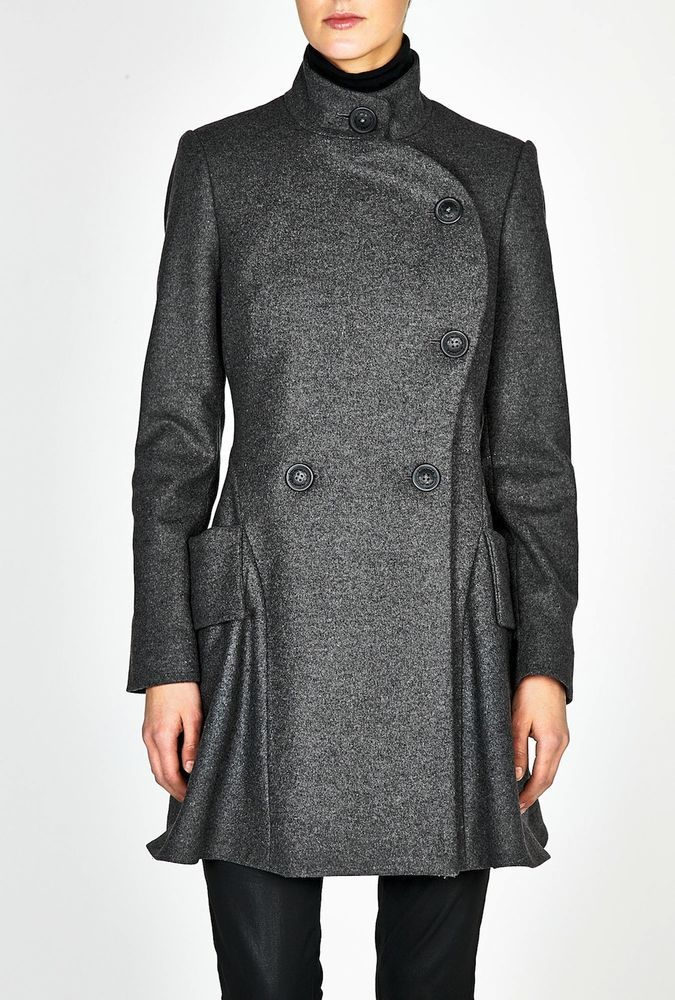 Vivienne Westwood Anglomania $1200 Military Gray Wool Peplum Dress Coat 6 APC #VivienneWestwood #Military