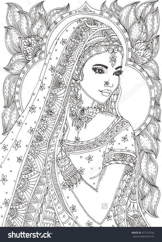 beautiful indian woman zendala coloring page : Shutterstock 477153724