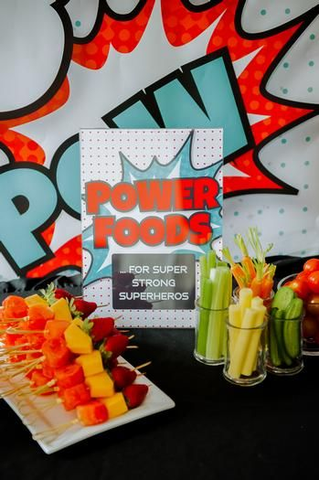 """Super Hero Party Idea - I love this image and the sign """" For super strong superheros"""" too cute.  It also makes all those healthy snacks look much more appetizing."""