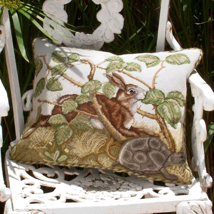 Hare & Tortoise needlepoint kit from Beth Russell. Inspired by a mural depicting Aesop's Fables, in Castell Coch in South Wales.