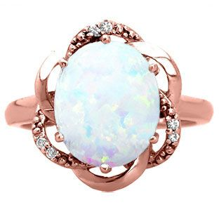 Bold Oval Cut Opal Gemstone Diamond Rose Gold Ring Available Exclusively at Gemologica.com