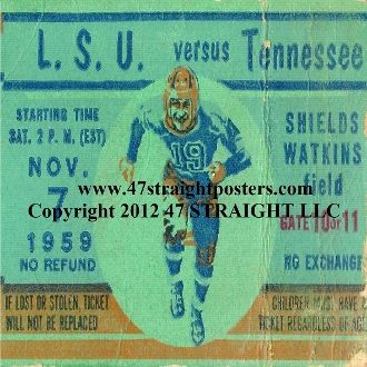 Drink Coasters made from authentic vintage football tickets. The BEST football gifts! http://www.shop.47straightposters.com/Tennessee-Football-Drink-Coasters-1959-vs-LSU-59-TN.htm