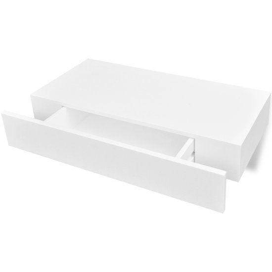 vidaXL Wandplank met lade MDF zwevend voor boeken/dvd wit
