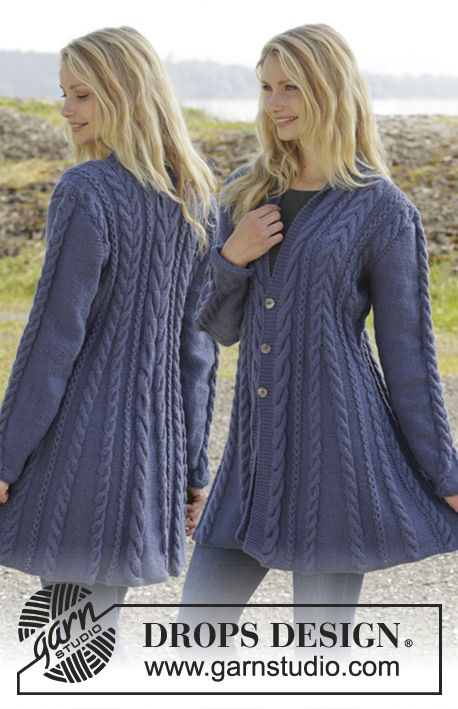 "Knitted DROPS jacket with cables and shawl collar in ""Karisma"". Size: S - XXXL. ~ DROPS Design"