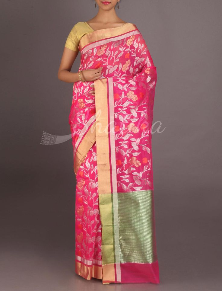 Karishma Flaming Pink Full Bloom In Gold And Silver Real Zari #ChanderiPattuSaree